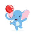 cute baby elephant having fun with red balloon vector image vector image