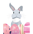 cute rabbit and eggs easter vector image vector image
