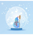 cute snow man in snow globe vector image vector image