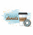 donut and take away coffee on blue background vector image vector image