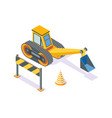 excavator road plastic cone and wooden stand vector image vector image