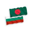 flags bangladesh and bulgaria on a white