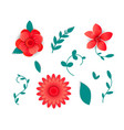 flowers in red tones paper cut art vector image