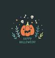 funny jack o lantern halloween greeting card vector image