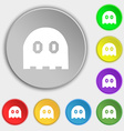 Ghost icon sign Symbol on eight flat buttons vector image