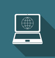 globe on screen laptop icon with long shadow vector image vector image