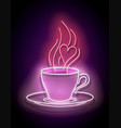 glow cup coffee with steam vector image vector image