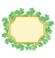 gold frame with green shamrock vector image