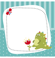 Greeting card with cartoon dinosaur vector image
