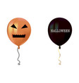 halloween air flying balloons scary pumpkin face vector image vector image