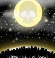 halloween city witj skull moon theme vector image vector image