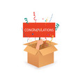 hand holding sign congratulation open box with vector image