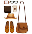 Hipster objects made of leather vector image vector image