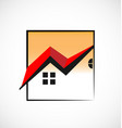 house red roof square frame logo vector image