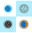 influenza virus cell icon set in flat and line vector image vector image
