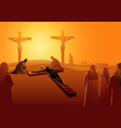 jesus is nailed to cross vector image vector image