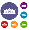 king crown icons set vector image vector image