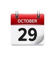 October 29 flat daily calendar icon Date vector image vector image