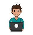 person desk flat vector image vector image