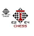 Red pawn on chess board vector image
