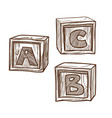 retro wooden cubes with abc on side monochrome vector image vector image