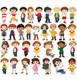 set happy children doing different actions vector image vector image
