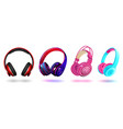 set modern professional headphones isolated on vector image