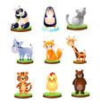set smiling cartoon funny animals vector image vector image