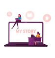 tiny female characters at huge laptop writing vector image