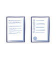 tips or list on sheet of paper contract text stamp vector image