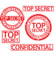 Top secret stamp set confidential sign