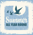 travel banner with seagulls and sun vector image vector image