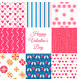 valentines day seamless patterns collection vector image