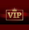 vip club label on black background with crown in vector image