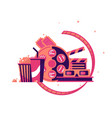 walk to cinema with soda and popcorn vector image