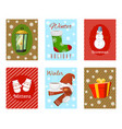 winter holiday time set of banners cards vector image vector image