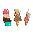 ice cream collection doodle vector image