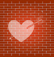 arrow heart sign whitish icon on brick vector image vector image