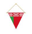 belarus triangle flag hanging vector image