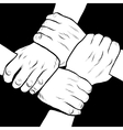Black and white hands solidarity friendship