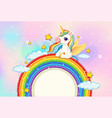 blank banner with cute unicorn on rainbow in the vector image
