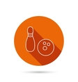 Bowling icon Skittle or pin with ball sign vector image