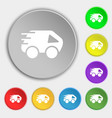 Car Icon sign Symbol on eight flat buttons vector image