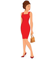 Cartoon young woman in red dress and closed eyes vector image vector image