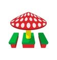 Children canopi mushroom cartoon icon vector image vector image