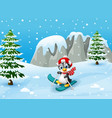 cute penguin skiing on winter vector image vector image