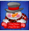 Cute snowman in hat closeup with card for text vector image vector image