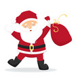 dancing cartoon santa claus with bag with presents vector image vector image