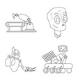 design of robot and factory sign set of vector image
