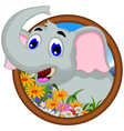 elephant cartoon in frame vector image vector image